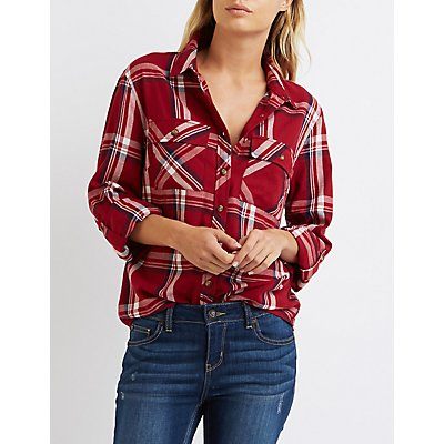 Lightweight Plaid Button-Up Shirt