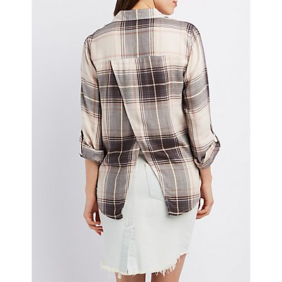 Flyaway Plaid Button-Up Shirt