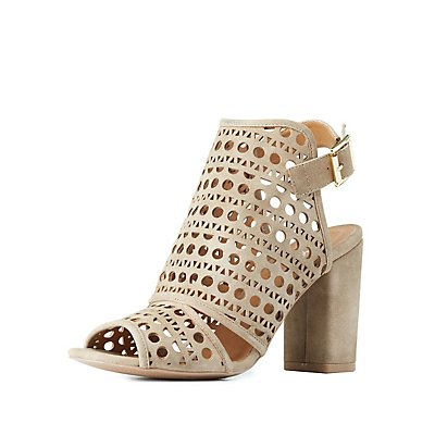 Qupid Eyelet Laser Cut Sandals