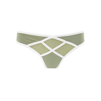 Mesh Panel Thong Panties