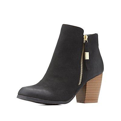 Qupid Zipper-Trim Ankle Booties