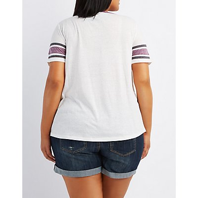 Plus Size Striped Sleeve Ringer Tee