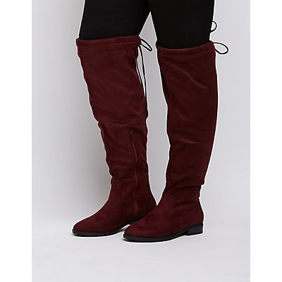 Wide Width Drawstring Over-The-Knee Boots