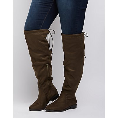 Wide Width Tie-Back Riding Boots