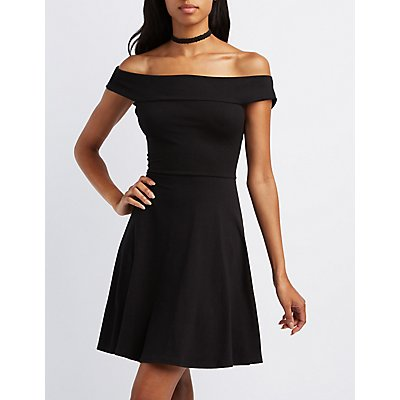 Off-The-Shoulder Cross-Back Skater Dress