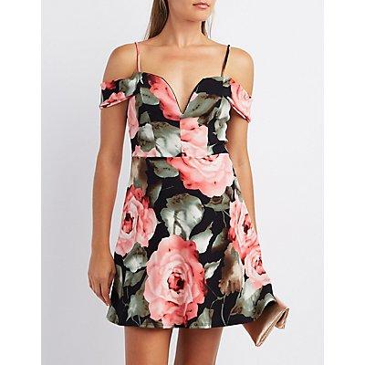 Floral Notched Cold Shoulder Dress