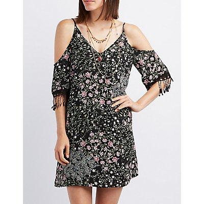 Floral Cold Shoulder Shift Dress