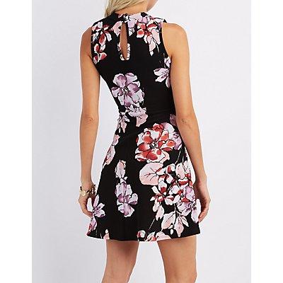 Floral Cut-Out Skater Dress