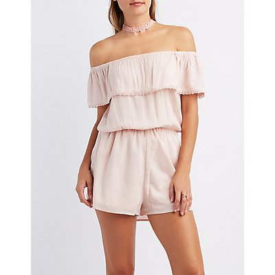 Crochet-Trim Off-The-Shoulder Romper