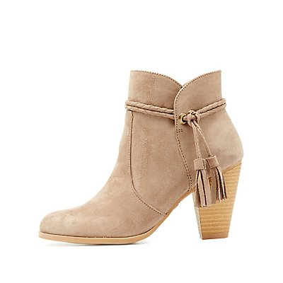 Qupid Tassel-Tie Ankle Booties
