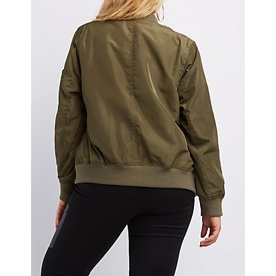Plus Size Zip-Up Bomber Jacket