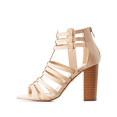 Caged Huarache Chunky Heel Sandals