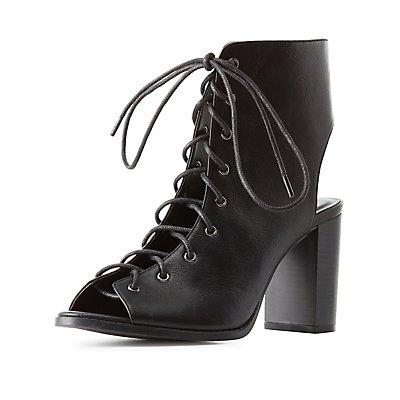 Peep Toe Lace-Up Dress Sandals