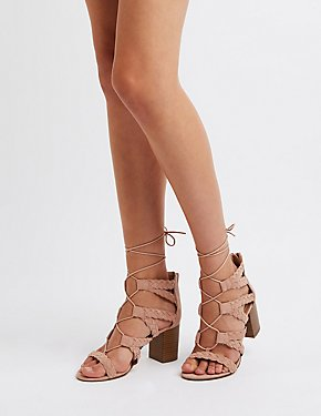 Braided Lace-Up Sandals