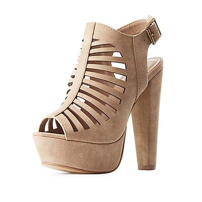 Laser Cut Slingback Platform Sandals