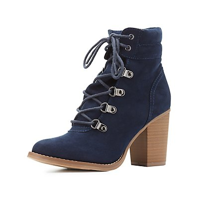 Lace-Up Chunky Heel Combat Booties