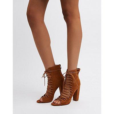 Lace-Up Block Heel Booties