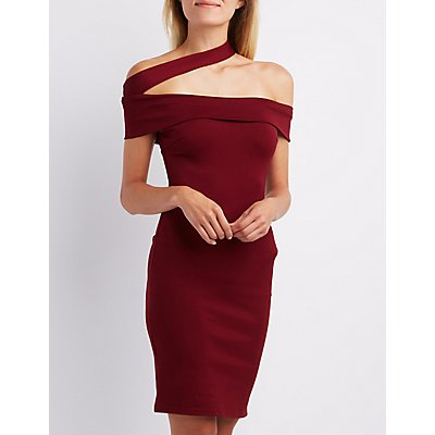 Off-The-Shoulder Illusion Bodycon Dress