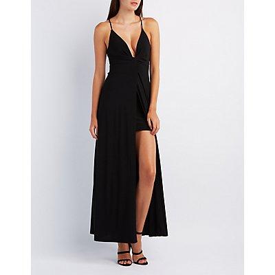 Plunging Wrap Maxi Dress