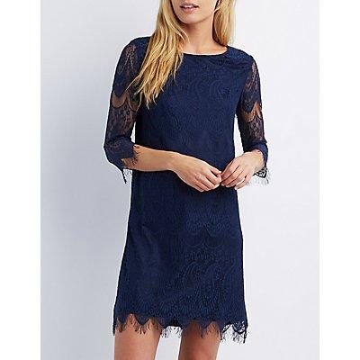 Three-Quarter Sleeve Lace Shift Dress