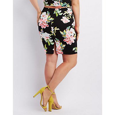Plus Size Floral Print Pencil Skirt