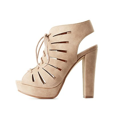 Laser Cut Lace-Up Platform Sandals
