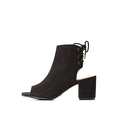 Bamboo Lace-Up Back Peep Toe Booties