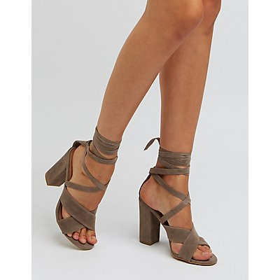 Bamboo Lace-Up Chunky Heel Sandals