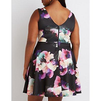 Plus Size Floral Scuba Skater Dress