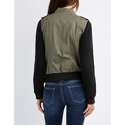 Fleece-Trim Bomber Jacket