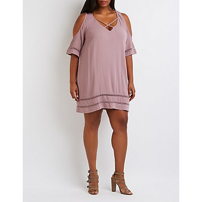 Plus Size Crochet-Inset Cold Shoulder Shift Dress