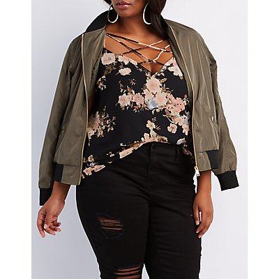 Plus Size Floral Caged Swing Top