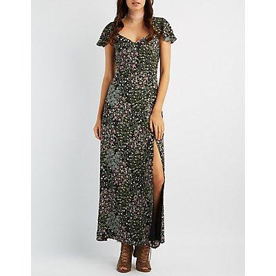 Floral Cut-Out Maxi Dress