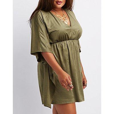 Plus Size Faux Suede Kaftan Dress