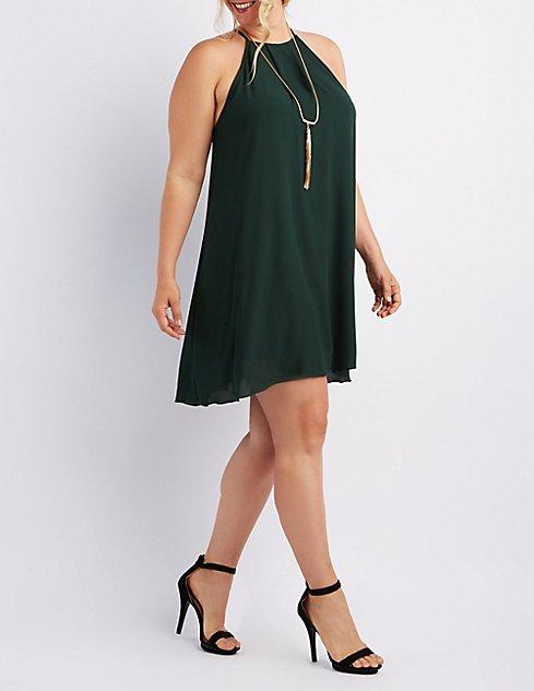 Plus Size Bib Neck Shift Dress Charlotte Russe