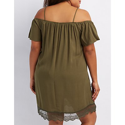 Plus Size Crochet-Trim Cold Shoulder Shift Dress