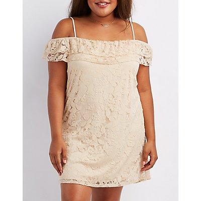 Plus Size Lace Cold Shoulder Dress
