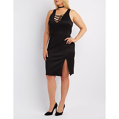 Plus Size Caged Bodycon Dress