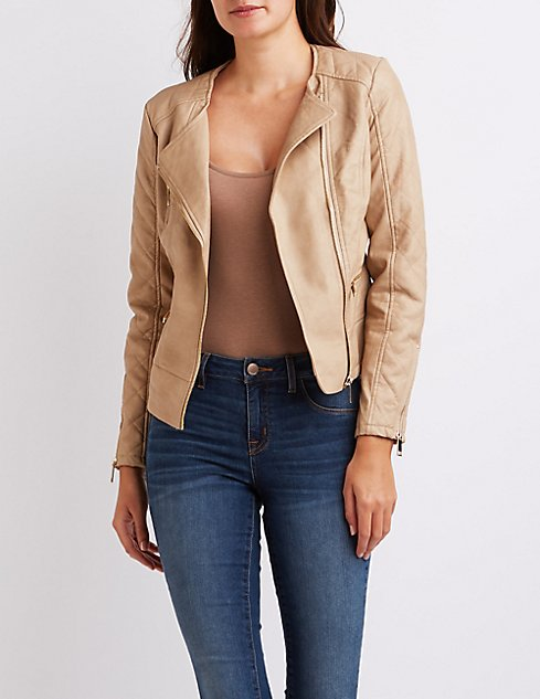 Quilted Faux Leather Moto Jacket   Charlotte Russe : quilted faux leather moto jacket - Adamdwight.com