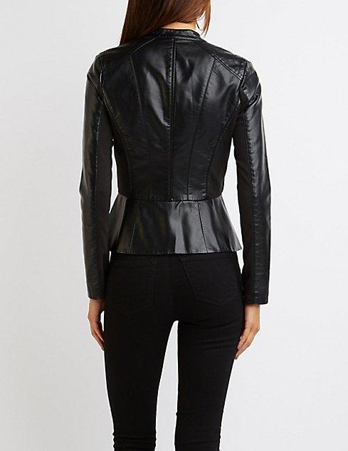 Faux Leather Peplum Jacket | Charlotte Russe