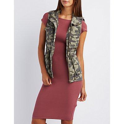 Camo Print Cargo Vest