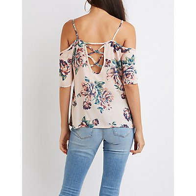 Floral Cold Shoulder Lattice-Back Top
