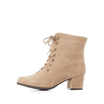 Faux Suede Lace-Up Ankle Boots