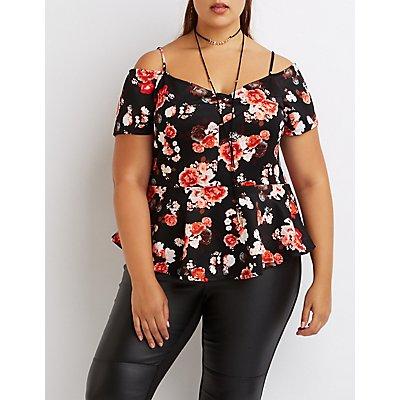 Plus Size Floral Cold Shoulder Peplum Top