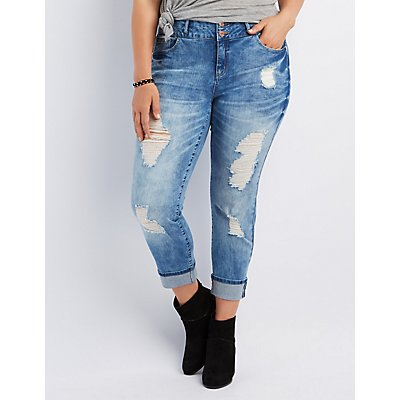 Plus Size Refuge Crop Boyfriend Jeans