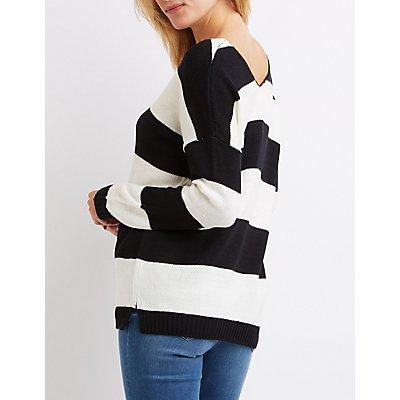 Striped V-Neck Tunic Sweater