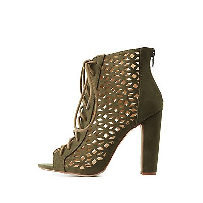 Laser Cut Lace-Up Booties