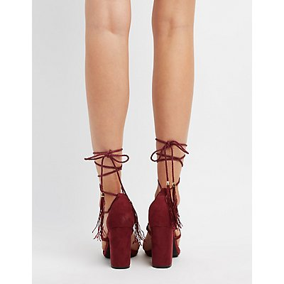 Tassel-Tie Lace-Up Sandals