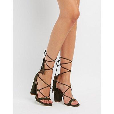 Tassel-Tie Lace-Up Sandals