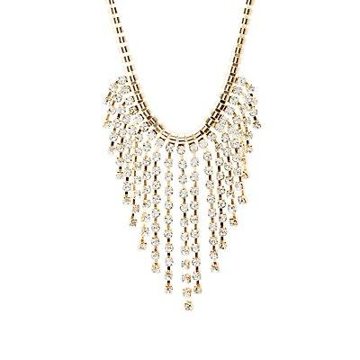 Rhinestone Fringe Bib Necklace